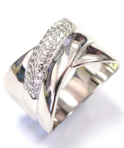 Cross Over CZ Ring In Sterling Silver South Africa