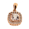 9Kt RG Morganite & Diamond Pendant-Cushion 6mm