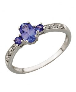 Tanzanite and Diamond Trilogy Ring in 9ct White Gold South Africa