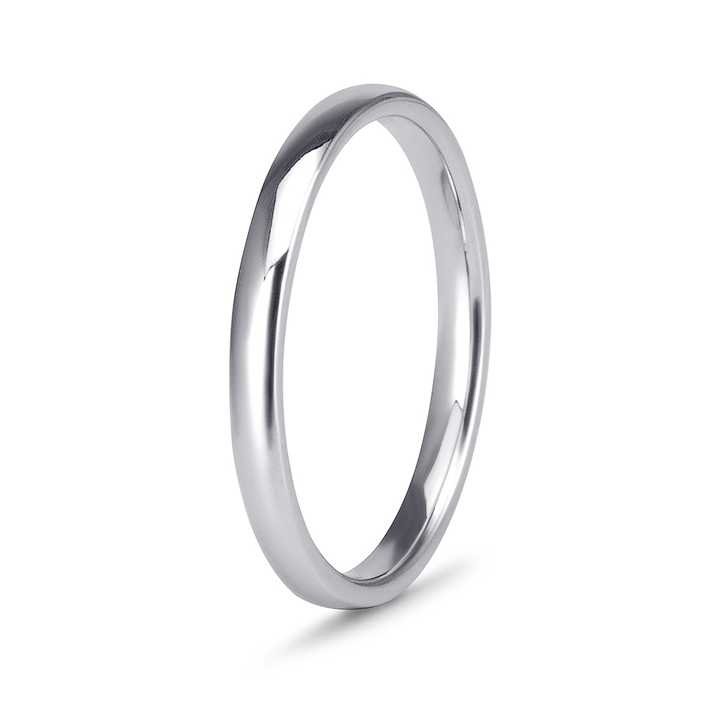 It is an image of White Gold Straight Wedding Band For Ladies -47mm