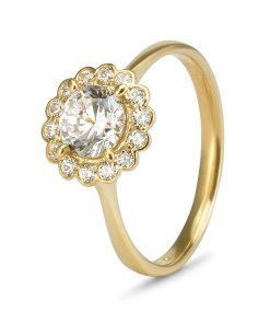 9ct Gold Cubic Zirconia Halo Ring South Africa
