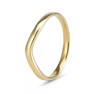 9ct gold curved wedding band
