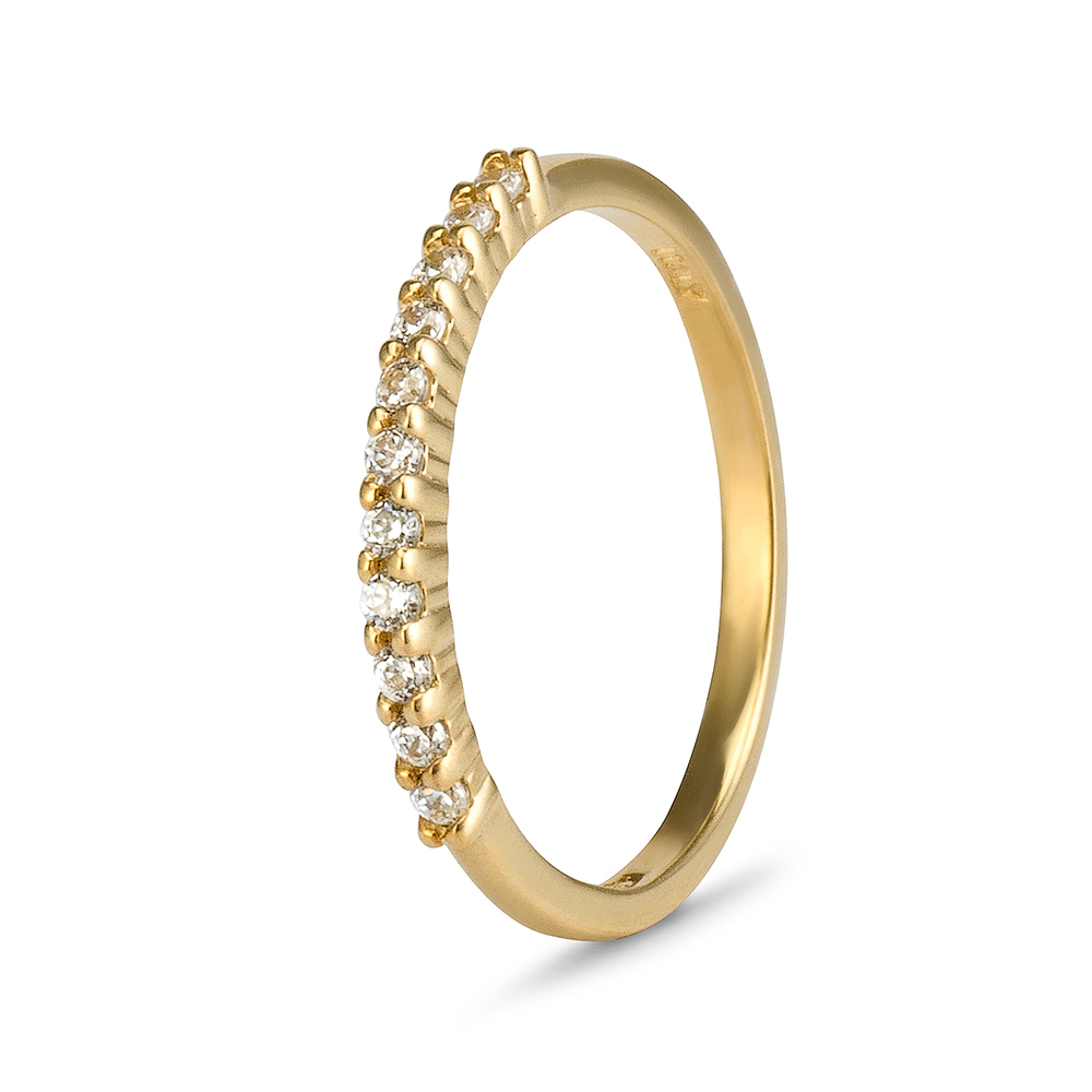 9ct Gold Cz Claw Eternity Band 15mm