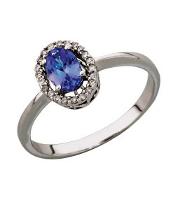 Oval Tanzanite and Diamond Ring in 9ct White Gold South Africa