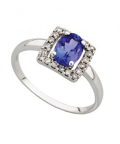 Oval Tanzanite & Diamond Ring in 9ct White Gold South AFrica