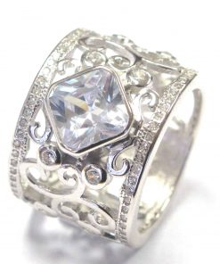 Silver Filligree Ring With Square Cushion Cut CZ South Africa