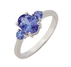 Oval Tanzanite Trilogy Ring in White Gold South Africa