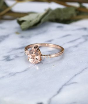 Pear Cut Morganite Engagement Ring in 9ct Rose Gold