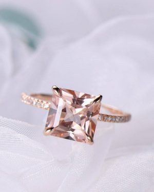 9ct rosegold 2.5ct Princess Cut Morganite Engagement Ring