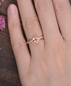 Pear Shaped Morganite Engagement Ring in 9ct Rose Gold