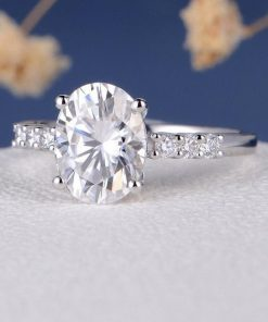 7x9mm Oval Moissanite Pave Ring South Africa