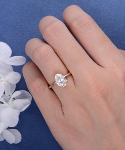 2ct Pear Shaped Moissanite Engagement Ring
