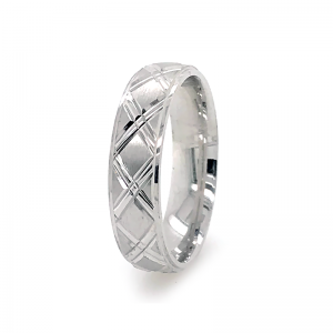 Silver Wedding Band Bevelled Edge