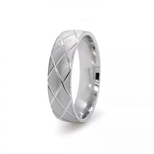 Sterling Silver Mens Wedding Band With Pattern