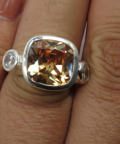 Custom Made Sterling Silver Ring With Champagne Morganite CZ