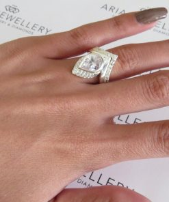 Custom Made - Sterling Silver 2pc Ring Set With 1x 10x8mm Pear CZ