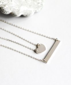 Sterling Silver Heart and Bar Double Layered Necklace